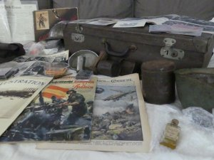 Close-up of some of the artefacts Lloyd shares during his virtual presentation 'The Spanish Civil War through 50 Objects'.