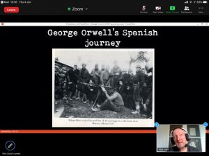 Screen shot 'George Orwell's Spanish Journey' presentation and virtual tour.