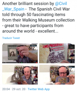 Screenshot of a presentation and virtual tour - 'The Spanish Civil War through 50 Objects'.
