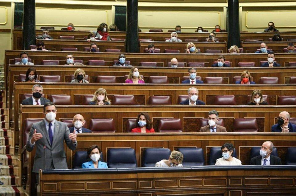 Prime Minister Pedro Sánchez speaking in the Spanish Congress