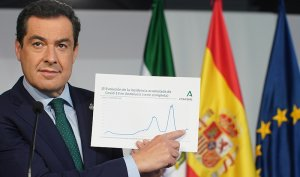 Juanma Moreno, president of the Andalusian government, indicating the evolution of Coronavirus in the region