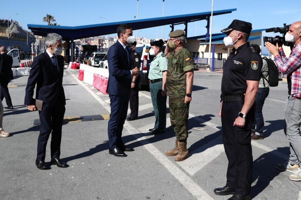 Spanish PM Pedro Sánchez and Interior Minister Fernando Grande-Marlaska, arriving in Ceuta