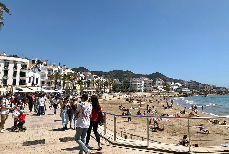 San Sebastian beach in Sitges, last Saturday.
