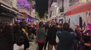 Carrer del Primer de Maig in Sitges during the nightlife clinical trial.