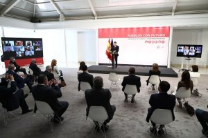 Pedro Sánchez at the podium for the presentation of 'Pueblos con futuro' - an 'Action Plan to Meet the Demographic Challenge'