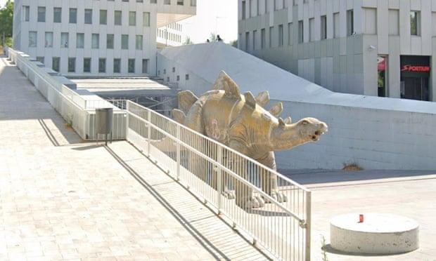 The dinosaur statue in Santa Coloma de Grament, Catalonia.