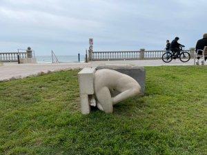 The headless sculpture of 'Dona asseguda nua'(Woman sitting naked) in La Riberapromenade in Sitges