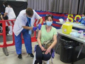 A woman receiving a jab in Lleida, Catalonia