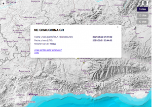 Screenshot from IGN.es, showing the exact location of the earthquake in Chauchina, Granada