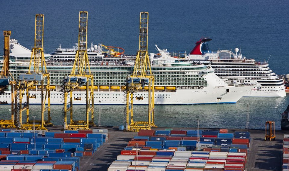 Cruise ships in the port of Barcelona.