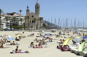 One of the beaches in Sitges.