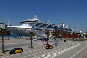 A cruise ship in the port of Barcelona.