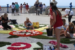 A 'carpet' of flowers outside Sitges church during Corpus Christi