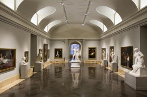 One of the central galleries in the Prado Museum, Madrid.