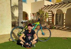 Cathy Hogan with her hybrid bike.