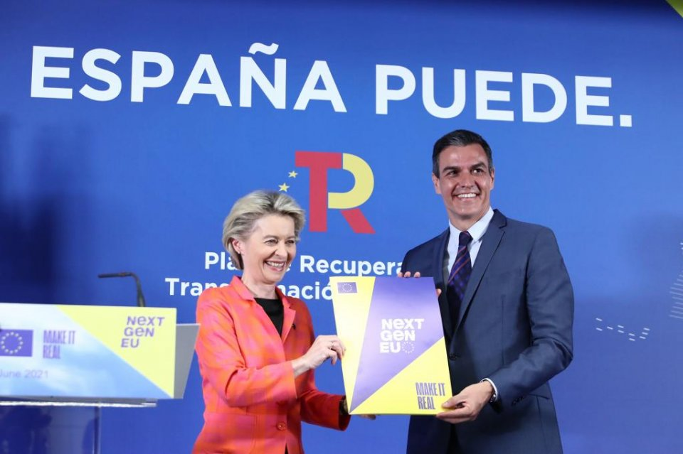 Spanish PM Pedro Sánchez and EU Commission President, Ursula von der Leyen