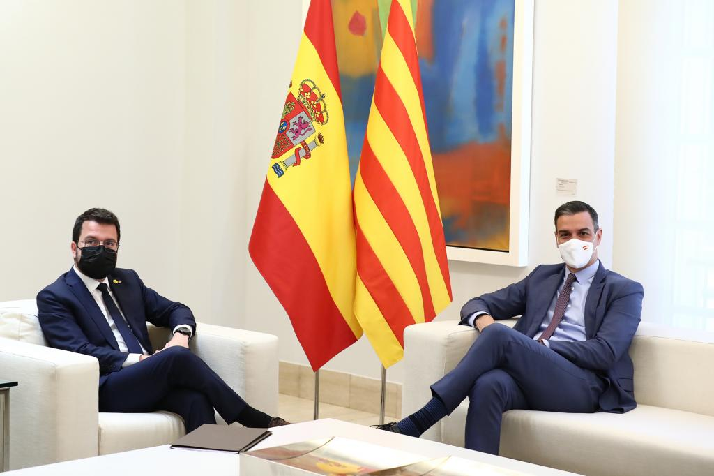 PM Pedro Sánchez meeting with the Catalan president Pere Aragonès