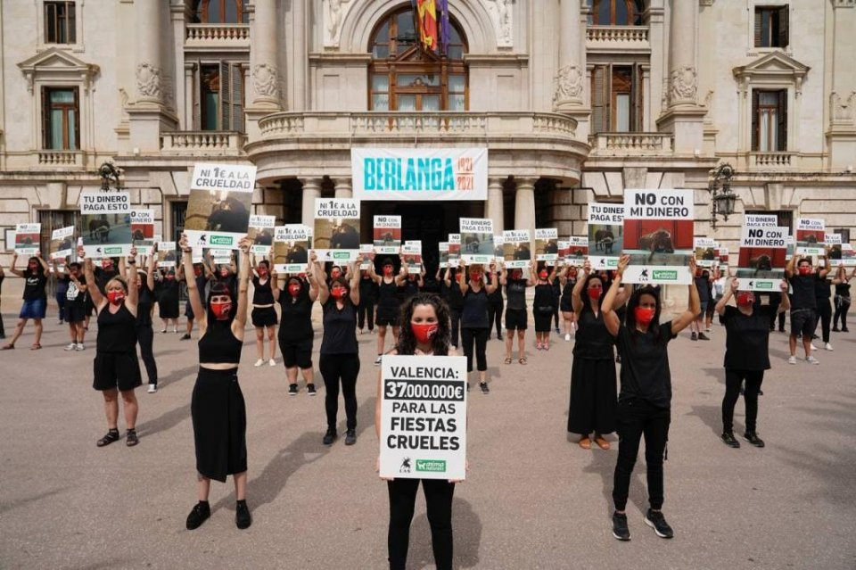 AnimaNaturalis and CAS International protest in Valencia.