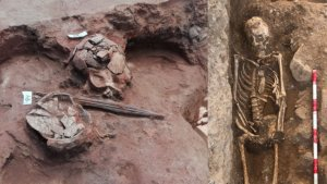Left, the iron 'pugio' (dagger) found by the Consorcio, and the burial site in which several agricultural tools were found.