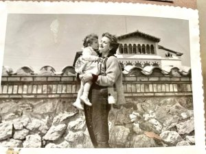Nuria in her mother's arms, in Sitges.