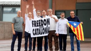 The seven male Catalan leaders leaving prison on 23 June 2021.