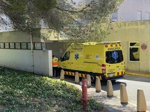 An ambulance entering Sant Camil Hospital