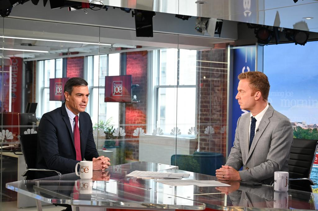 Pedro Sánchez being interviewed on the MSNBC 'Morning Joe' show