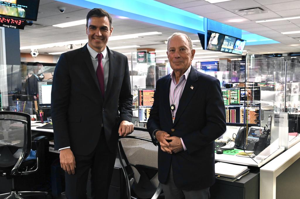 Spanish PM Pedro Sánchez meeting with Michael Bloomberg