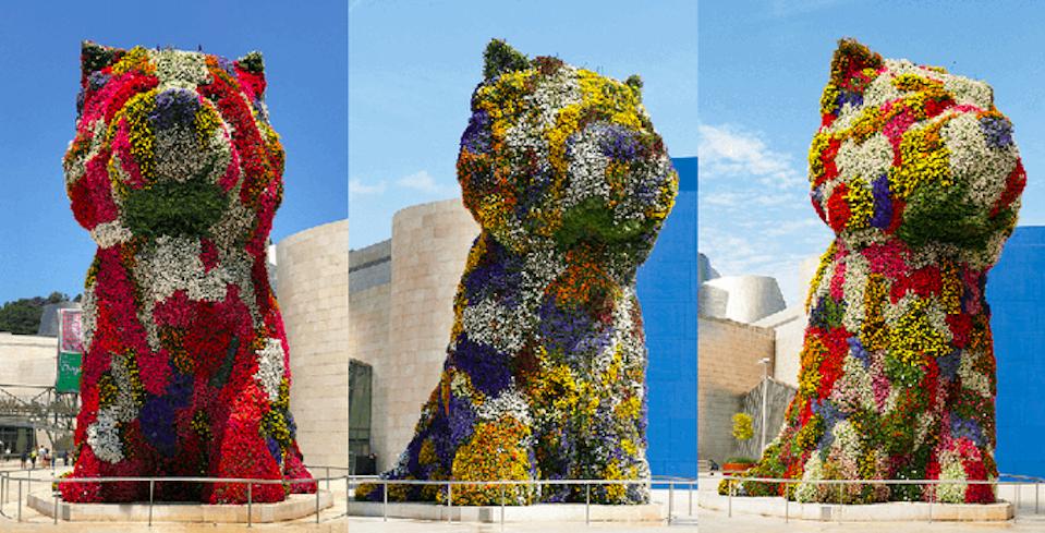 The Jeff Koons 'Puppy' sculpture at the Guggenheim Bilbao.