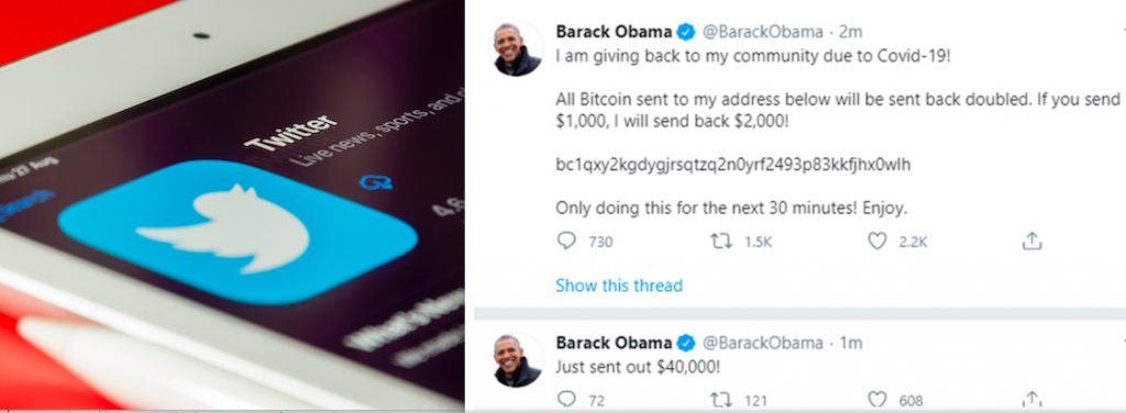 Screen shot of fake tweets sent from the account of Barack Obama