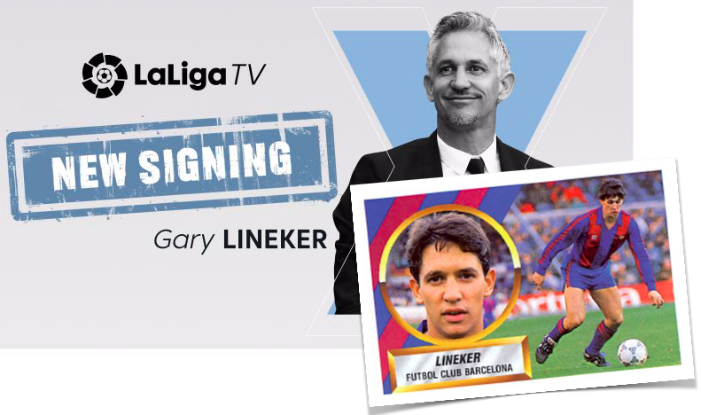 Screenshots from La Liga TV's announcement of 'new signing of Gary Lineker'.