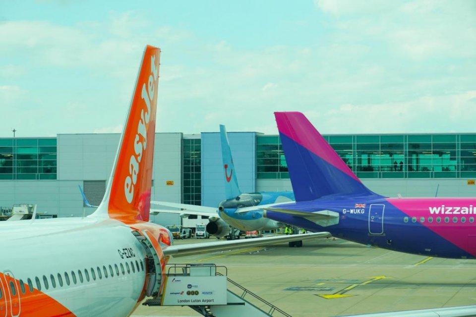 Aircraft at London Luton Airport.
