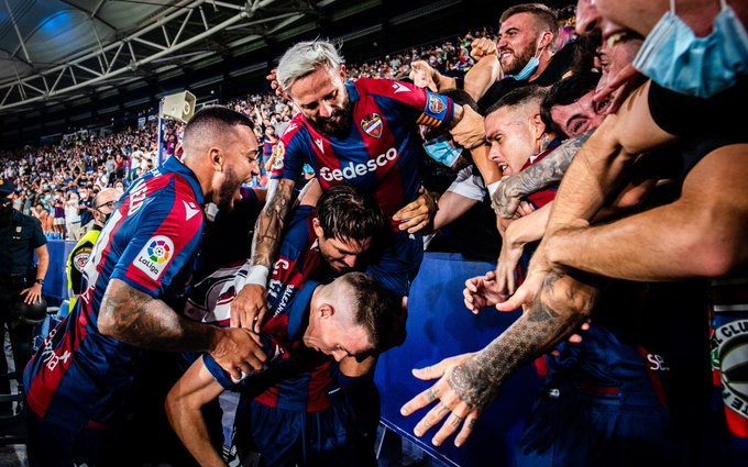 Levante players celebrate one of their goals