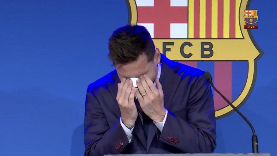 Tearful Lionel Messi during his media appearance on 8 August 2021.