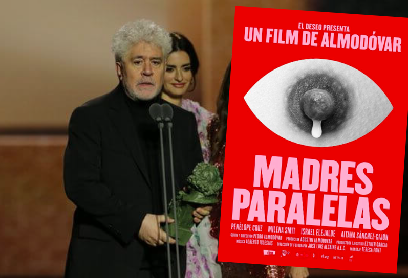Almodovar winning a Goya for Best Director in 2020, plus his latest film poster.