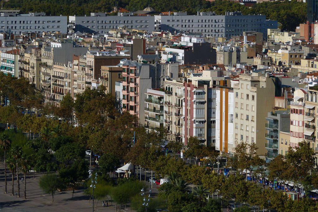 Partial view of La Barceloneta district.