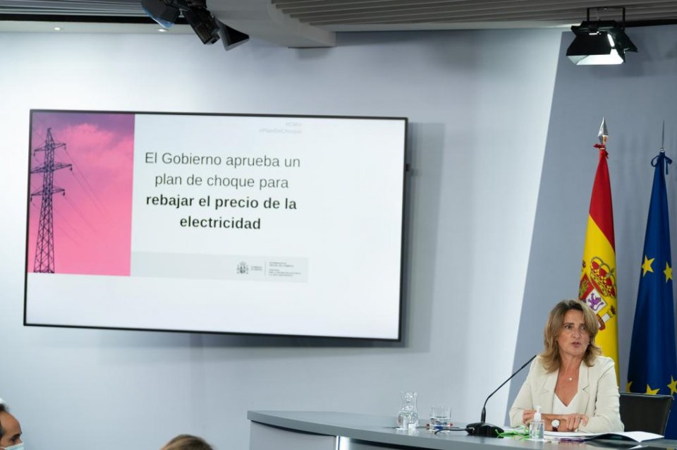 Teresa Ribera during the press briefing after the cabinet meeting on 14 September 2021.