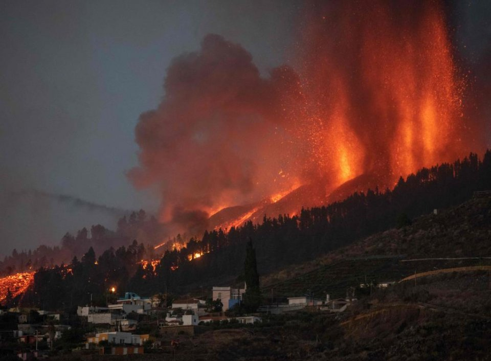 Image of the lava from the volcano erupting on La Palma, in the Canary Islands.