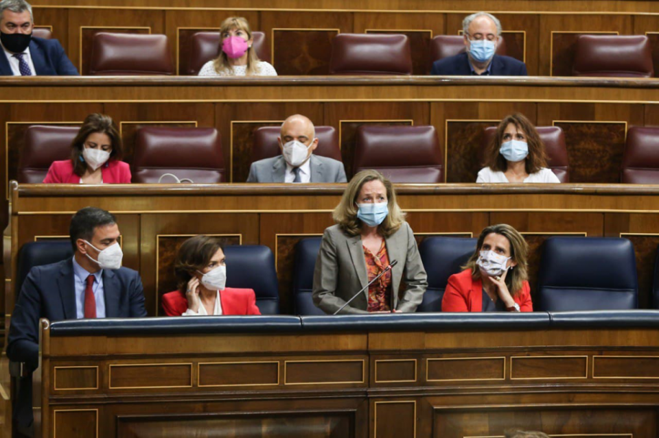 Economy Minister Nadia Calviño speaking in the Spanish Congress.