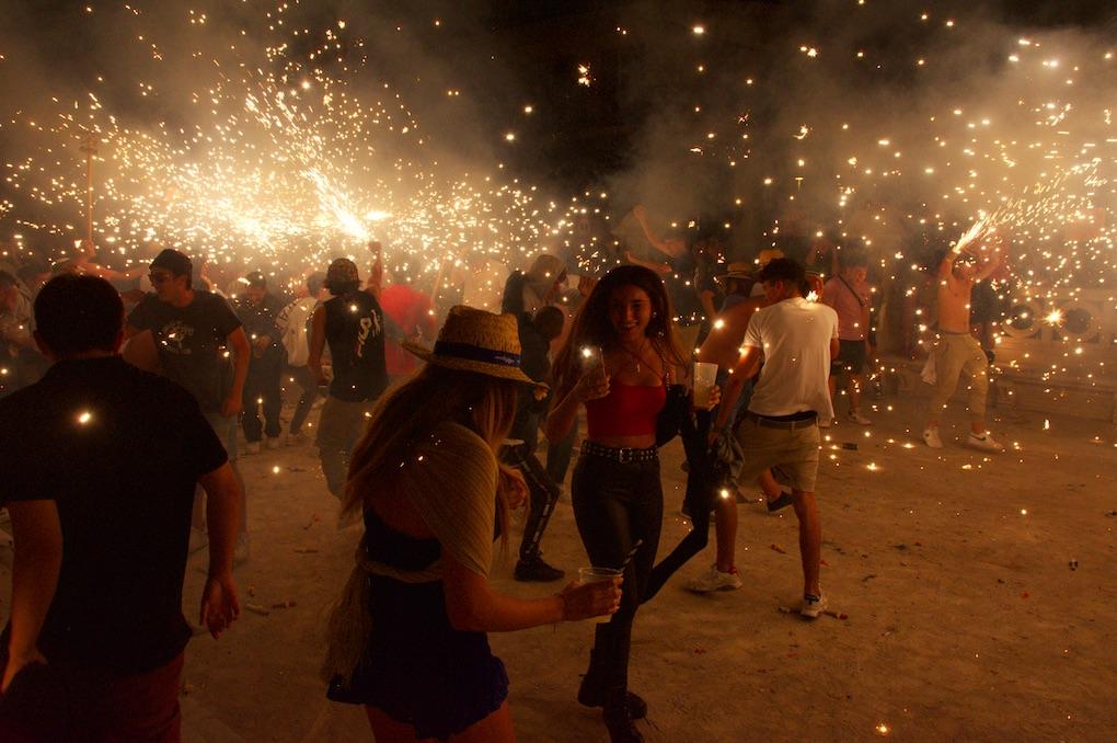 A 'fire run' on the Passeig de la Ribera