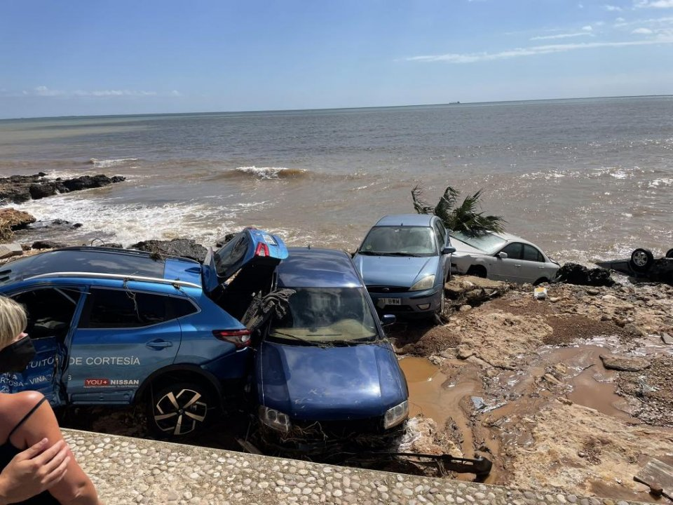 Cars swept to the sea in Alcanar.