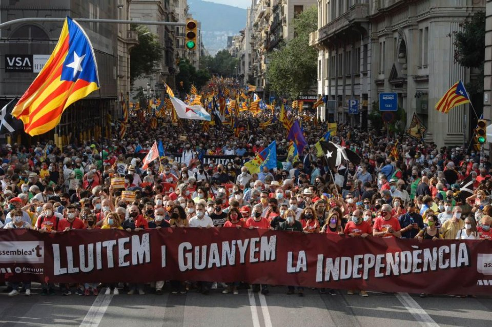 An image of the rally held in Barcelona on 11 September 2021 under the slogan 'We will fight for independence and win.'