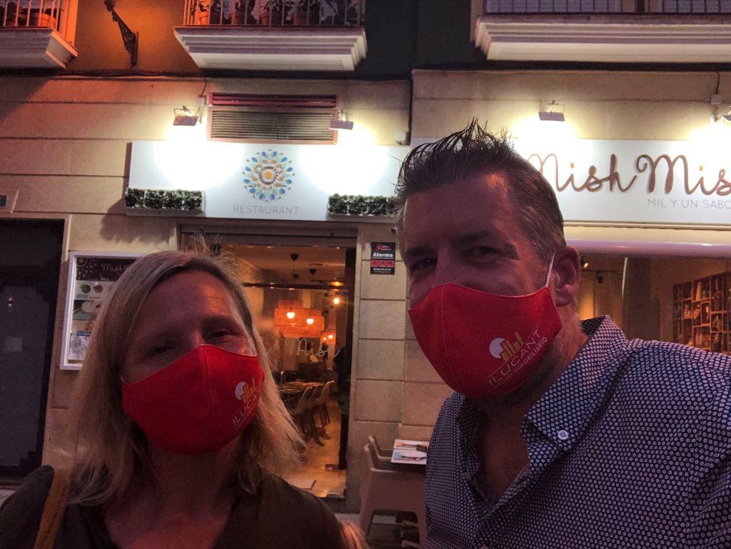Complete with face masks, Steph Osborn and her husband enjoying some time back in Alicante.