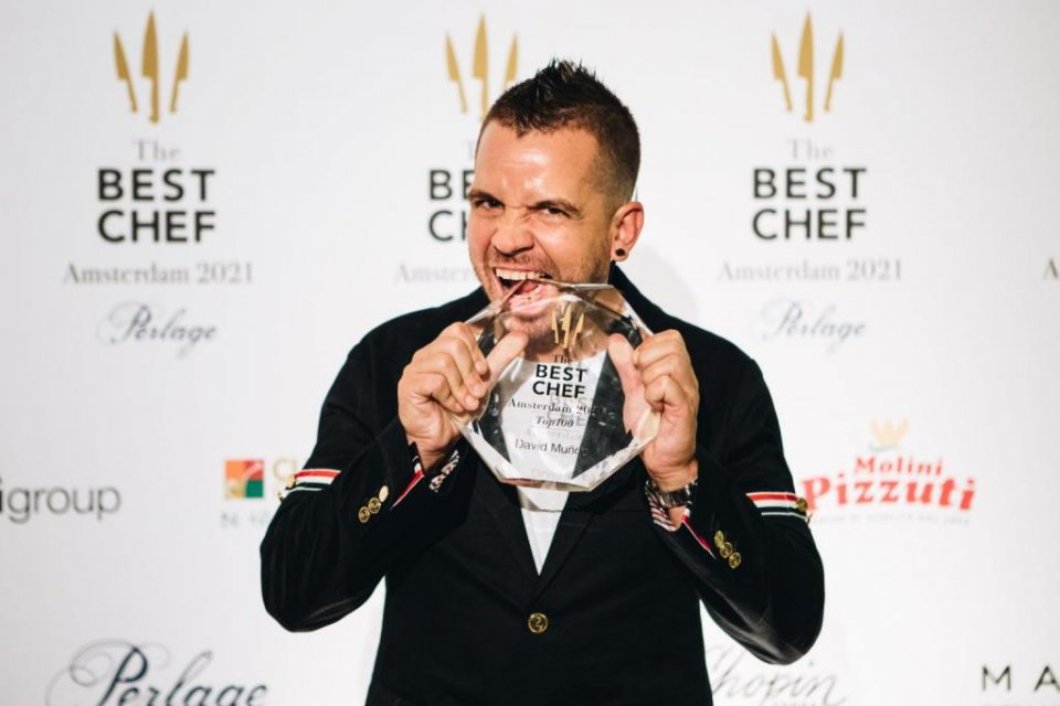 Chef Dabiz Muñoz of DiverXo in Madrid celebrating The Best Chef Top100 Award.